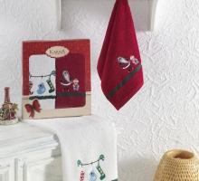 """Кухонные полотенца махровые с вышивкой """"KARNA"""" NOEL 30x50 см 1/2"""