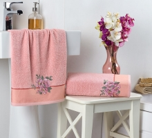"""Комплект махровых полотенец """"KARNA"""" с вышивкой FLORYA 50x90-70х140 см"""