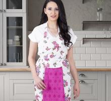 """Фартук кухонный """"KARNA"""" с салфеткой из велюра 30x50 см"""