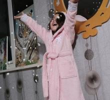 """Халат детский махровый """"KARNA"""" с капюшоном TEENY (Розовый)"""